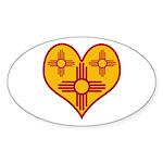 New Mexico Zia Heart Oval Sticker (10 pk)