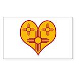 New Mexico Zia Heart Rectangle Sticker 10 pk)
