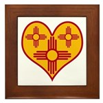 New Mexico Zia Heart Framed Tile