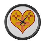 New Mexico Zia Heart Large Wall Clock