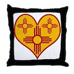 New Mexico Zia Heart Throw Pillow