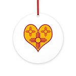 New Mexico Zia Heart Ornament (Round)
