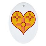 New Mexico Zia Heart Oval Ornament