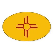 New Mexico State Flag Oval Sticker