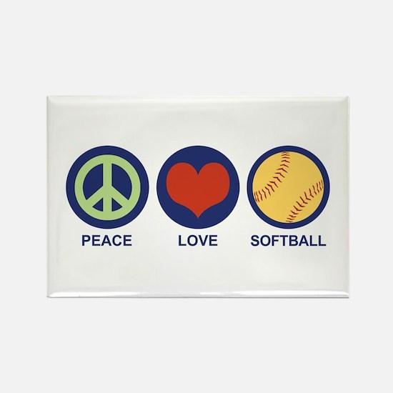 Peace Love Softball Rectangle Magnet