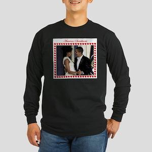 Obamas at the Inaugural B Long Sleeve Dark T-Shirt