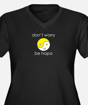 Don't Worry Be Hapa Face Women's Plus Size V-Neck