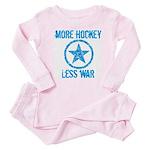 More Hockey Less War Baby Pajamas