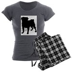 Pug Silhouette Women's Charcoal Pajamas