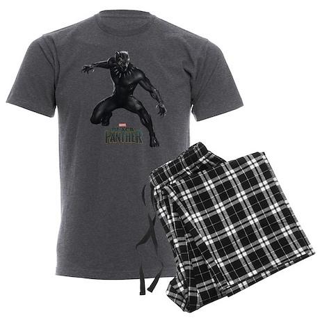 Black Panther Pose Men's Charcoal Pajamas