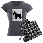 Scottish Terrier Silhouette Women's Charcoal Pajam