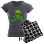 Alien Skull and Bones Women's Charcoal Pajamas