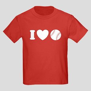 I Love Baseball Kids Dark T-Shirt