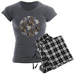 Wolf Head Background Women's Charcoal Pajamas