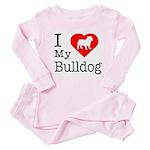 I Love My Bulldog Baby Pajamas