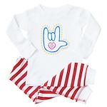 Blue Dotty Love Hand Baby Pajamas