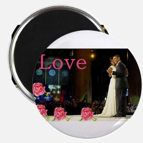 """Barack & Michelle Love 2.25"""" Magnet (100"""