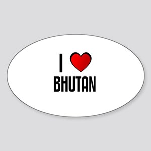 I LOVE BHUTAN Oval Sticker