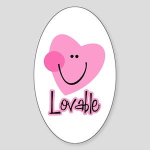 Lovable Heart Oval Sticker