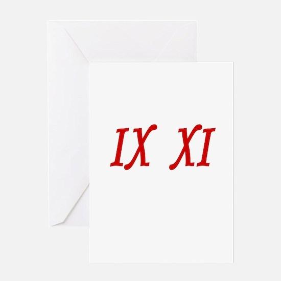 IX XI.....9 11 Greeting Card