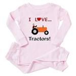 I Love Orange Tractors Toddler Pink Pajamas