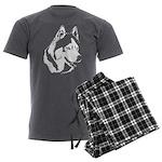 Siberian Husky Sled Dog Men's Charcoal Pajamas