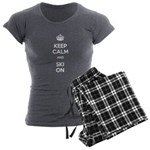 Keep Calm and Ski On Women's Charcoal Pajamas