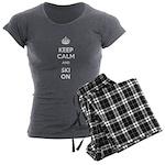 Keep Calm and Ski On Women's Charcoal Pajamas