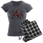 Cute Ladybug pattern Women's Charcoal Pajamas