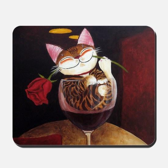 cat-art red wine Mousepad