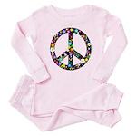 Hippie Flowery Peace Sign Baby Pajamas