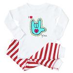 Aqua Bold I-Love-You Baby Pajamas