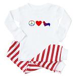 Peace, Love, Pembroke Corgi Baby Pajamas