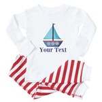 Customizable Blue Sailboat Baby Pajamas