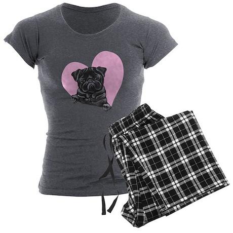 Black Pug Pink Heart Women's Charcoal Pajamas