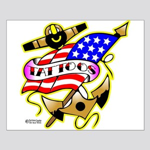 Old Skool Anchor & Flag Small Poster