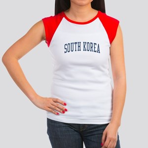 South Korea Blue Women's Cap Sleeve T-Shirt