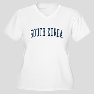 South Korea Blue Women's Plus Size V-Neck T-Shirt