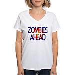 Zombies Ahead Women's V-Neck T-Shirt
