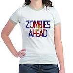 Zombies Ahead Jr. Ringer T-Shirt