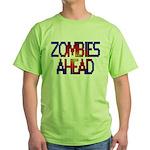 Zombies Ahead Green T-Shirt