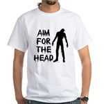 Aim For The Head Zombie White T-Shirt