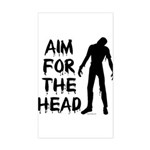 Aim For The Head Zombie Rectangle Sticker