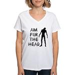 Aim For The Head Zombie Women's V-Neck T-Shirt