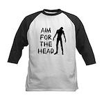 Aim For The Head Zombie Kids Baseball Jersey