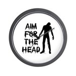 Aim For The Head Zombie Wall Clock