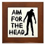Aim For The Head Zombie Framed Tile