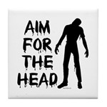 Aim For The Head Zombie Tile Coaster