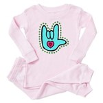 Aqua Bold Love Hand Baby Pajamas