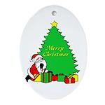 Christmas Scene Oval Ornament